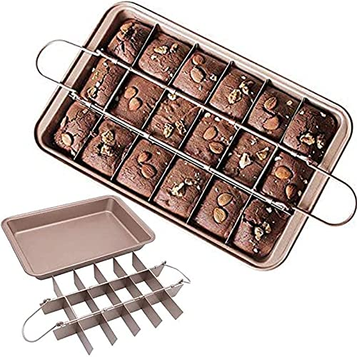 Brownie Pan with Dividers, Non Stick Baking Pan Sets, Carbon Steel Bakeware Tray with Grips for Oven Baking, 18 Pre-Cut Square Molds for Brownie Bite, Cake, Fudges and Chocolate (12'' X 8'' X 2'')
