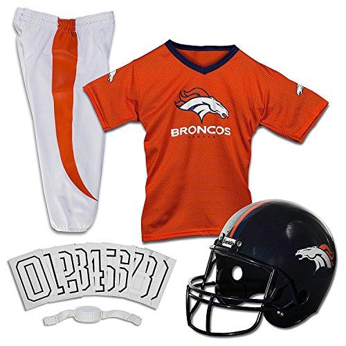 Franklin Sports Denver Broncos Kids Football Uniform Set - NFL Youth Football Costume for Boys & Girls - Set Includes Helmet, Jersey & Pants - Small