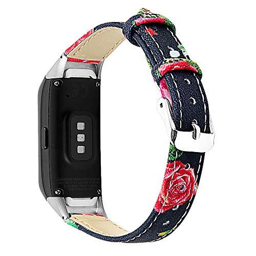 Jennyfly Correas de reloj de cuero suave compatibles con Samsung Galaxy Fit SM-R370, mujeres ajustables de 5.5 a 8.1 pulgadas, correa delgada de piel auténtica, accesorios con hebilla de metal