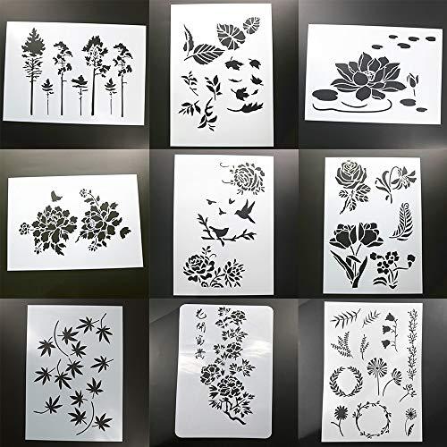 BLUGUL 9 Pezzi Formato A4 Stencil, per Decorazione da Parete Mobilia Finestra DIY Disegno,...