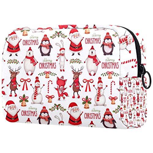 Schminktasche Reise Kosmetiktasche Tasche Geldbörse Handtasche mit Reißverschluss - Weihnachten Santa Schneemann Hirsch Eisbär Pinguin