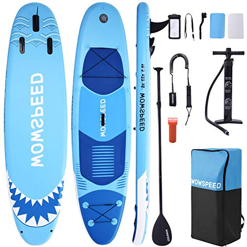 """Hemousy Stand Up Paddle Board,10.5'×33""""×6"""" Inflatable Paddle Boards 286Lb Load Wide Stand SUP Non-Slip Deck Board with Leash, Paddle,Pump,3×Fins Stand Boat Paddle Board Accessories"""