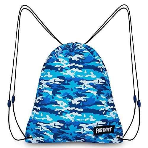 Fortnite Mochila de Cuerdas para Niños, Bolsas de Tela con Cordón para El Colegio Deportes Playa, Mochila para Gimnasio (Azul Camo)