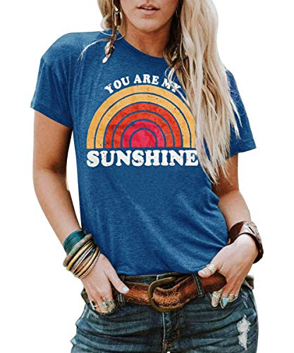 Kaislandy Womens You are My Sunshine T Shirt Short Sleeve Printed Graphic Tees Casual Summer O Neck Tops Shirts, Blue, X-Large