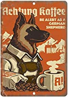 Achtung Kaffeeコーヒー 金属板ブリキ看板警告サイン注意サイン表示パネル情報サイン金属安全サイン