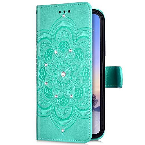 Uposao Compatible avec Xiaomi Mi 9 Se Coque Glitter de, Portefeuille PU Premium Housse Etui Cuir à Rabat Magnétique,Mandala Fleur Paillette Glitter Diamant Stand Folio Flip Case,Vert
