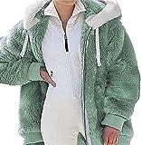 MFFACAI Abrigos de Mujer Abrigos de Gran Tamaño para Mujer Invierno Cálido Outwear Bolsillos con Capucha Chaqueta de Lana Tejida de Color Sólido Chaqueta de Lana con Cremallera Chaqueta con Capucha