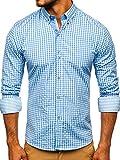 BOLF Hombre Camisa a Cuadros de Manga Larga Cuello Americano Camisa de Algodón Slim fit Estilo Casual 9712 Azul Claro M [2B2]