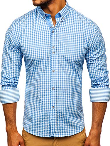 BOLF Hombre Camisa a Cuadros de Manga Larga Cuello Americano
