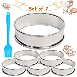 6 Pieces Muffin Tart Rings + Silicone Oil Brush, 3.15 Inch Double Rolled Tart Ring, Stainless Steel Muffin Rings, Crumpet Rings Molds for Shortbread Puff Pastry Small Flan Mousse Cake Ring