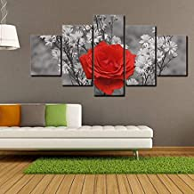 HibiscusElla 14270 LM Black and White Background Rose Wall Art Prints Canvas Painting Personalized Decoration Living Room