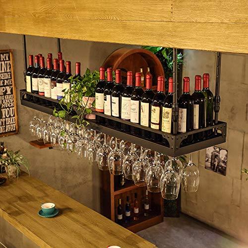 YHYZ Estante del Vino del Techo Soporte de Copa de Vino Colgante Botelleros armarios para Vino Goblets Rack Salón de Bar Decoración Soporte para Copa de Vino Creativo Negro Mate_60 * 35cm