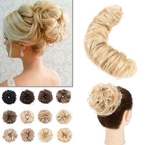 S-noilite Human Hair Messy Bun Hairpieces DIY Wrap Around Updo Extension Real Hair 32g Short Curly Remy Hair Ponytail Bun Maker Scrunchie Hair Band For Women #613 Bleach Blonde