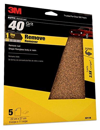 3M Sandpaper, 32118, 9 in x 11 in, 40 Grit, 5 sheets per pack