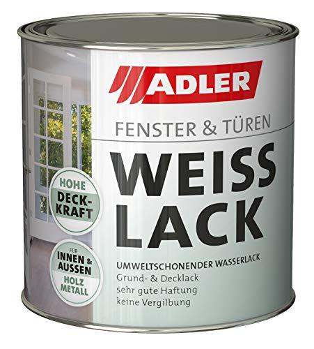 ADLER Fenster- und Türenlack - Weißlack matt 750 ml - Acryl Weisslack für Innen und Außen - Wetterfeste Grundierung und Lackfarbe für Holz, Metall & Kunststoff