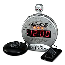 Sonic Alert Skull Clock, Digital Alarm Clock – Alarm, Snooze, USB Charger, Simple to Operate, Full Range Brightness Dimmer, Outlet Powered, Big Red Digit Display – Silver