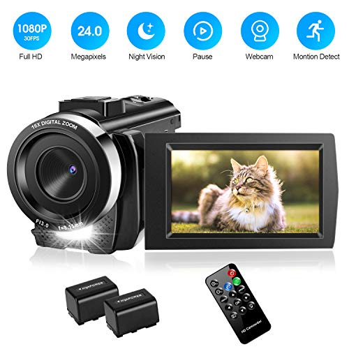 Video Camera Camcorder with 32GB Card Full HD 1080P 30FPS Digital Camera Vlogging Camera for YouTube 30 Inch LCD 270 Degrees IPS Screen LED