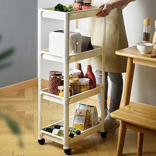 Acekool Carro de 4 niveles sobre ruedas, carrito de almacenamiento, organizador de utilidad con ruedas, estantería móvil con ruedas, estante de almacenamiento para cocina, baño, lavandería dormitorio