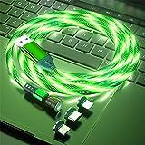 Cable de carga magnética 1M/2M Rotación de 360° y 180° 3A Cable USB magnético de carga rápida Cable magnético 3 en 1 con iluminación colorida y visible para Android,Micro-USB,Tipo C,Phone,Teléfono