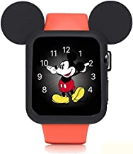 pipigo iWatch Case 38MM Series 3/Series 2/Series 1 Sport/Edition/Nike Soft Silicone Protective Cover for Cartoon Mouse Ears Apple Watch Case (Black)
