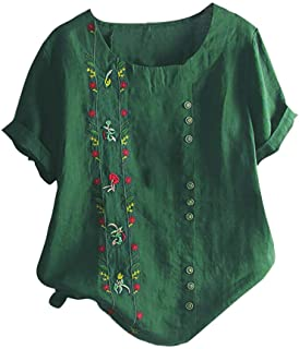 TINGZI Women Tees Bohemian Summer Blouse Floral Embroidered Shirt Short Sleeves Top Loose Comfy Tunic