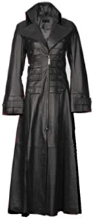 Womens Beautiful and Sexy Lambs Leather Ladies Steampunk Goth Trench Coat