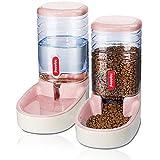 utomatischer Futterspender für kleine und mittelgroße Haustiere, 3,8 l, Reisefutterspender und Wasserspender für Hunde, Katzen, Haustiere (pink)