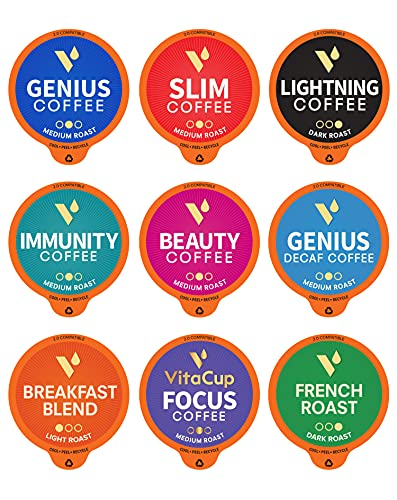 VitaCup Coffee Variety Sampler Pack 40ct. Vitamin & Superfood infused Recyclable Single Serve Pods Compatible with K-Cup Brewers Including Keurig 2.0