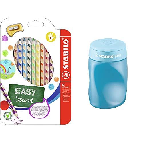 Ergonomischer Buntstift für Linkshänder - STABILO EASYcolors - 12er Pack mit Spitzer - mit 12 verschiedenen Farben & ischer Dosen-Spitzer für Linkshänder - STABILO EASYsharpener - 3 in 1 - blau