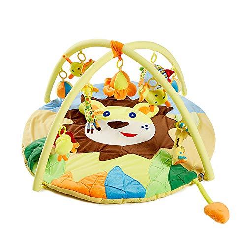 GACYSMD Linda león Tema bebé Juego Gimnasio Estera, 3 en 1 Bebe cognitivo exploración Actividad colchoneta Juguetes Colgantes Regalo de bebé (Color : Brown)