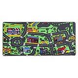 Spielteppich Autoteppich Straßenteppich City - 95x200 cm, Anti-Schmutz-Schicht, Auto-Spielteppich für Mädchen & Jungen, Kinderteppich Strasse Fußbodenheizung geeignet