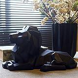 IUYJVR Modelo de Resina de león Escultura de fe de león Estatua geométrica Origami Animal Decoración de Arte Abstracto Adornos de artesanía de Regalo Adornos de Escultura de Barra de Oficina (Color