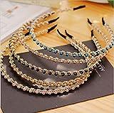 Diadema de Cristal, XiYee 5 Piezas Diademas de Diamante de Imitación, Diademas de Moda de Cristal Brillante, Diadema Retro Sencillo, Rhinestone Hairband Aro de Pelo Fino para Mujeres Niñas