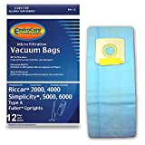 EnviroCare Replacement Micro Filtration Vacuum Cleaner Dust Bags Made to fit Riccar 2000, 4000 and Vibrance Series. Simplicity 5000, 6000 and Symmetry Type A 12 Pack