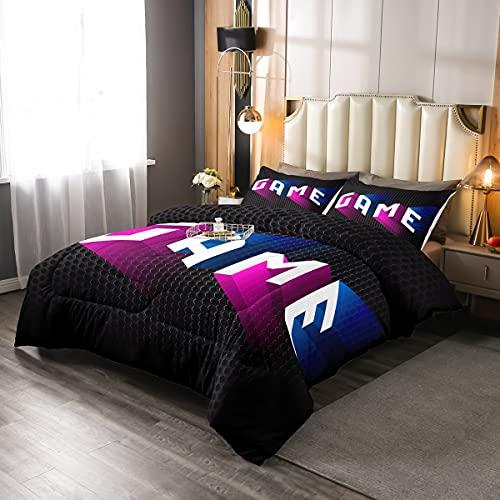 Juego de edredón para videojuegos, juego de cama reversible, 2 piezas, para niños, adolescentes, decoración de la habitación, juego juvenil, edredón de nido de abeja negro con 1 funda de almohada