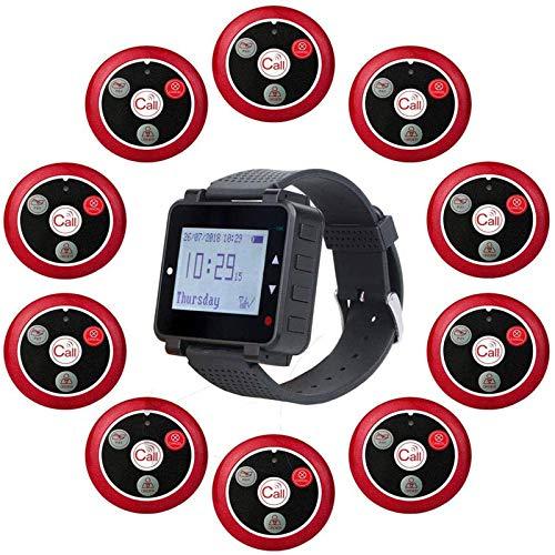 Retekess T128-T117 Sistema de Llamadas, Sistema Buscapersonas Avisador Camareros con Tres Modos de Recordatorio, 1 Receptor de Reloj y 10 Botones de Llamada de Cliente para Hotel, Pizzería, Clínica