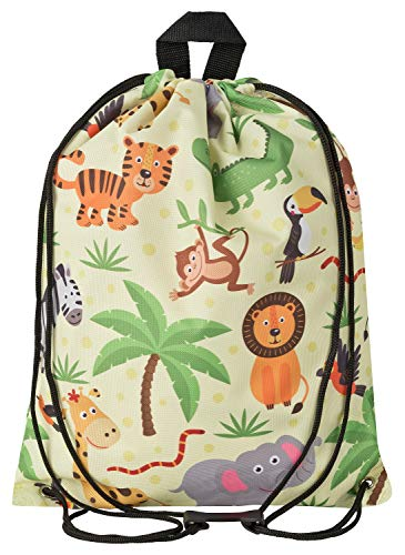 Aminata Kids Dschungel Turnbeutel für Kinder aus Nylon, reflektierend & wasserabweisend - unser Kindergarten Sportbeutel mit Safari-Motiv hat verstärkte Nähte und einen Brustclip