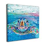 CONLIN Canvas Prints Wall Art Sea Turtle Paintings Decor Small Canvases Wooden Framed Artwork for Home Office Living Room Bedroom Kitchen Decorations Gifts Ready to Hang (12x12 Inch)