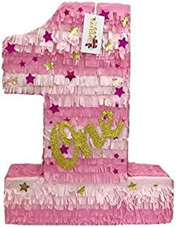APINATA4U Large Pink & Gold Number One with Stars Twinkle Twinkle