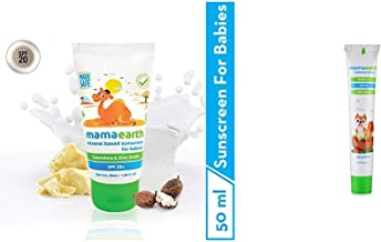 Mamaearth Mineral Based Sunscreen for Babies, White, 50ml & Mamaearth 100 Percent Natural Berry Blast Kids Toothpaste, 50g