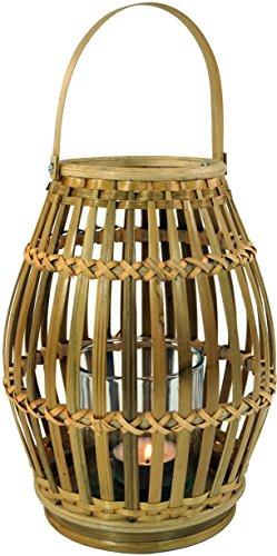 Guru-Shop Windlicht, Kerzenhalter, Teelichtlampe aus Bambus, Braun, 20x16x16 cm, Teelichthalter & Kerzenhalter