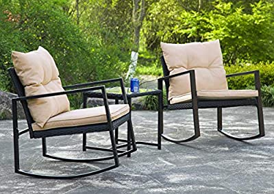 3 Pieces Patio Set Outdoor Wicker Patio Furniture Sets Rocking Chair Bistro Set Rattan Chair Conversation Sets Garden Porch Furniture Sets with Coffee,Black
