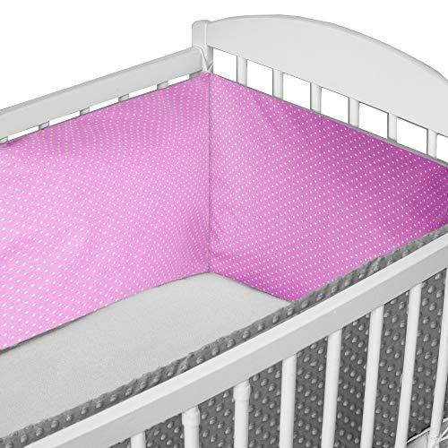 Nestchen Babybett 70x140 umrandungen - baby-bettumrandung Bettnestchen für Kinderbett Beistellbett Gitterbett 210 x 30 cm Baumwolle-Minky