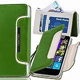 numia Nokia Lumia 1520 Hülle, Handyhülle Handy Schutzhülle [Book-Style Handytasche mit Standfunktion & Kartenfach] Pu Leder Tasche für Nokia Lumia 1520 Hülle Cover [Grün-Weiss]