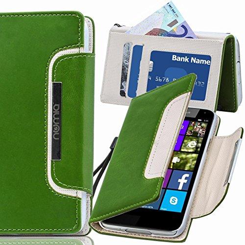 Nokia Lumia 530 Hülle, numia Handyhülle Handy Schutzhülle [Book-Style Handytasche mit Standfunktion & Kartenfach] Pu Leder Tasche für Nokia Lumia 530 Hülle Cover [Grün-Weiss]