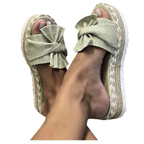 BIBOKAOKE Damen Pantoletten Römersandalen Freizeit Mode Bequeme Schleifen Knoten Peep Toe Elegant Plateau Atmungsaktive Sandales Braided Hausschuhe Flache Sandalen Sandals