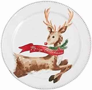 Mud Pie Christmas Reindeer Tartan Dessert Plate
