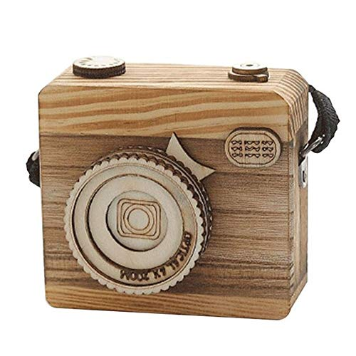 Retro Camera Styling Houten Music Box cadeau for kinderen Gift QPLNTCQ (Color : As Shown, Size : Free)