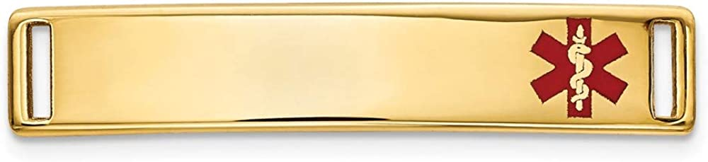 14k Yellow Max 74% OFF Gold Epoxy Enameled Medical # Id Off Ctr 2021 autumn and winter new Alert Plate