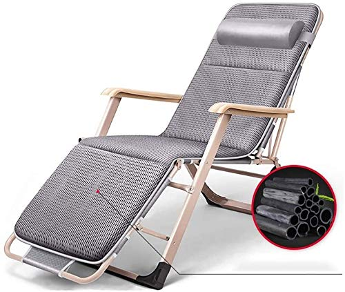 ZYLHC Patio Lounger Chair Zero Gravity Recliner Chair Folding Lounge Chair Office Lunch Break Multifunctional nap Sheets People Lazy Portable Chair Beach Chair (Color : Gray)